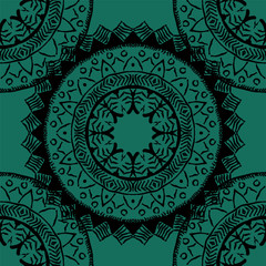 Seamless pattern with mandalas in bohemian style. Native American vector ornament painted with grunge brushes
