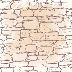 Vector hand-drawn texture of brick wall or sett (paving). Seamless pattern of paver. Urban style structured ornament in line art style. Pattern design for travel, city life.