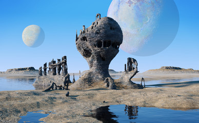 Obraz alien planet landscape with lakes and strange rock formations - fototapety do salonu