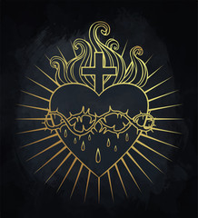 Sacred Heart of Jesus. Vector illustration in gold colors isolated on black. Trendy Vintage style element. Religion, purity, sacrifice, spirituality, occultism, alchemy, magic, love.