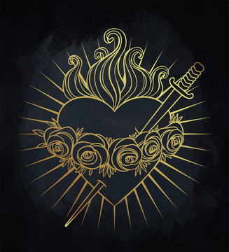 Immaculate Heart of Blessed Virgin Mary, Queen of Heaven. Vector illustration in gold and black. Vintage element. Religion, purity, sacrifice, spirituality, occultism, alchemy.