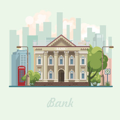 Bank building vector illustration in flat design.