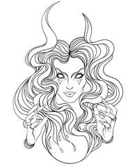 Young beautiful witch. Mystic character. Alchemy, religion, spirituality, occultism, tattoo art. Isolated vector illustration. Halloween concept.