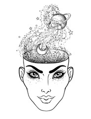 The girl face with the space inside her head. Dotwork tattoo flash design. Female portrait or night goddess with space, stars, moon and Saturn planet.