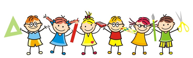 Happy kids and school supplies. Group of girls and boys. Vector icon.
