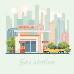 Gas station vector illustration in flat design