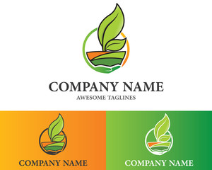 Farm Care concept for natural farm products logo Design Template Flat Style Design. Vector Illustration