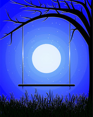 A swing in the background of the moon