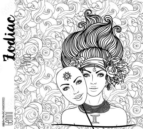 Zodiac Gemini Zodiac Sign Vector Illustration With Portrait Of A