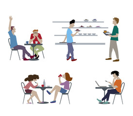 Vector illustration of people in canteen, people eating in the cafeteria. Students characters set in flat design.