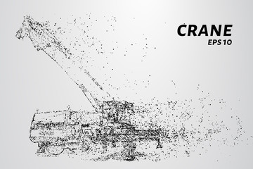 Mobile crane consists of dots and circles. The crane wind blows the particles. Vector illustration.