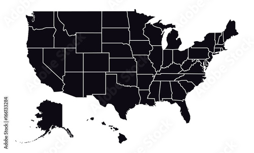 Vector - United States of America Black Silhouette map including ...