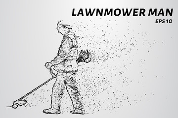 Mowing grass consists of dots and circles. A gardener mows the grass trimmer. Vector illustration
