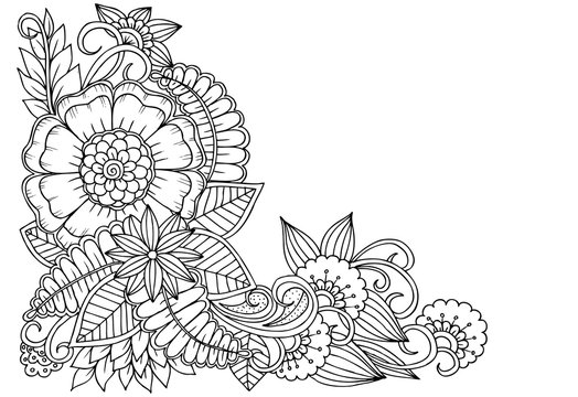 Black and white flower corner pattern