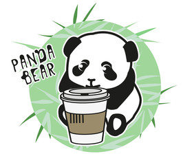 Panda bear Illustration vector children, young, set. Funny drawing for children and young.