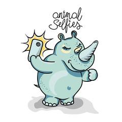 Animals taking selfie photo on smart phone