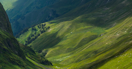 Picturesque mountain emerald valley of river Zagedanka. Caucasus mountains. Wall mural