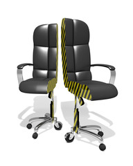 executive chair splitted, part time working, 3D Illustration