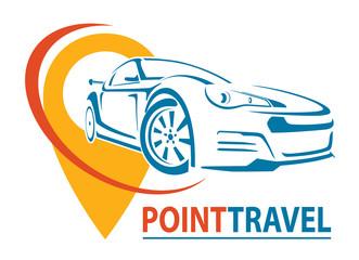 Car Logo Design. Creative vector icon. Point Travel. Vector illustration.
