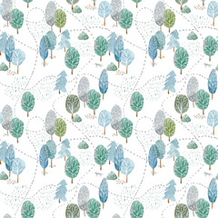 Floral seamless pattern of a tree, spruce,birch,road,wolf,mushroom and deciduous tree.Abstract forest. Watercolor hand drawn illustration.White background.