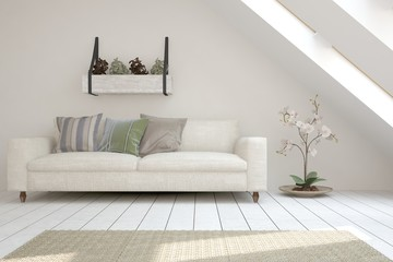 Inspiration of white modern room with sofa. Scandinavian interior design. 3D illustration