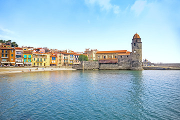 View Of Collioure, Languedoc-Roussillon, France, French Catalan Coast