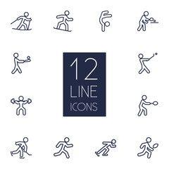 Set Of 12 Fitness Outline Icons Set.Collection Of Pong Ping, Power-Lifting, Batting And Other Elements.