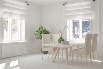 Inspiration of white dinner room with winter landscape in window. Scandinavian interior design. 3D illustration