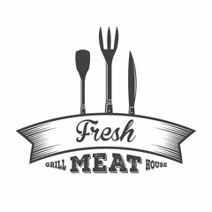 BBQ. Grill and barbecue restaurant logo, menu element, label or badge