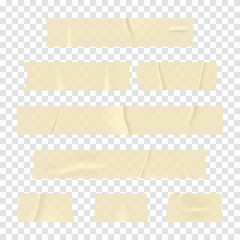 Adhesive tape. Set of realistic sticky tape stripes isolated on transparent background