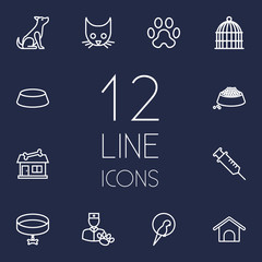 Set Of 12 Animals Outline Icons Set.Collection Of Shop, Head, Bird Prison And Other Elements.