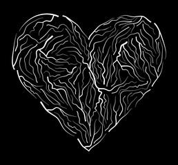 vein heart vector symbol icon design. Beautiful illustration isolated on  black background