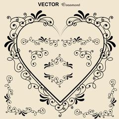 ハートのフレーム|クラシカルオーナメント|飾り罫|飾り囲み|囲み罫|Hand drawn ribbon Vector