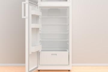 Empty fridge with open door