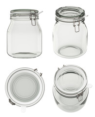 Empty glass jar with clamp lid