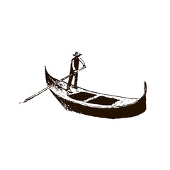 Gondola. Venice symbol. vector sketch.