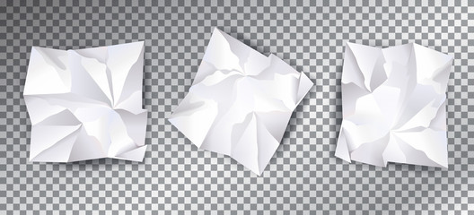 Crumpled white paper set, transparent effect. Monochrome paper with abstract fractal texture pattern. For High tech business design