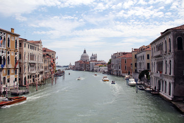 VENICE, ITALY JULY 18, 2011: Grand Canal and the Basilica of Santa Maria della Salute, Venice, Italy