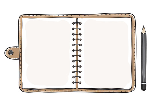 vintage notebook notebook and black pencil  vector art illustration