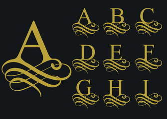 Curly font caligraphic alphabet. vector