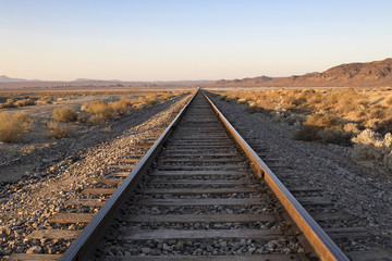 Railroad tracks at Trona Pinnacles in the California desert