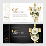 Gift cards with a floral pattern and a gold ribbon vector set of luxury gift voucher with a gold bow ribbon and flower vector template yelopaper Gallery