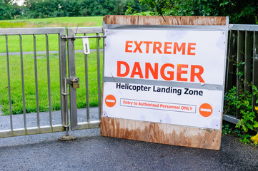 Warning sign for a Helicopter Landing Zone
