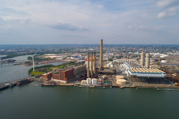 Aerial image industrial power plant