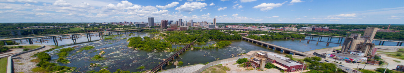 Wall Mural - Aerial panoramic image Downtown Richmond Virginia and James River