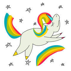 Unicorn with colorful tail and hair flying over the rainbow, cartoon vector illustration isolated on white background