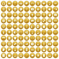 100 leisure icons set gold