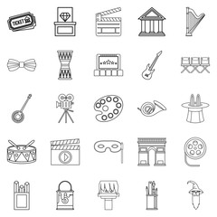 Exhibition icons set, outline style