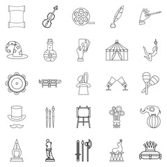 Picture show icons set, outline style