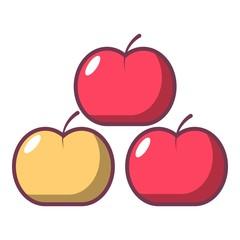 Apples icon, cartoon style